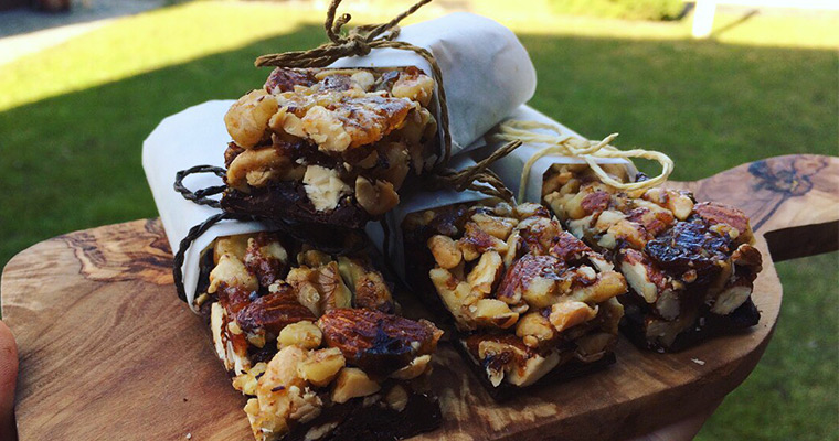 Nuts bars with chocolate